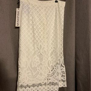 MINKPINK High waisted white lace skirt